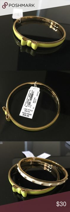 Kate Spade citron bracelet - TAKE A BOW Kate Spade bracelet new with tag. Bought a while ago, but never used. Note: this is for the citron one with bow only, the other cream bangle is not included in the sell. If u like them both, we can negotiate a discount though. kate spade Jewelry Bracelets