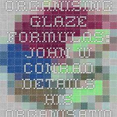 Organising glaze formulas: John W Conrad details his organisational system for glazes. - Free Online Library