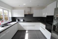 Schuller white gloss kitchen designed and installed by Design Gloss Kitchen Cabinets, White Gloss Kitchen, White Kitchen Decor, Home Decor Kitchen, Kitchen Interior, Minimalist Kitchen, Black Kitchens, Küchen Design, Modern Kitchen Design