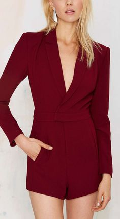 Oxblood tuxedo romper  women fashion outfit clothing style apparel @roressclothes closet ideas
