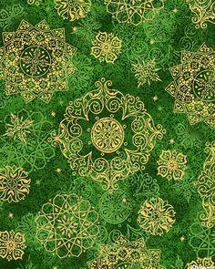In Bethlehem - Cloisonné Snowflakes - Emerald Green/Gold
