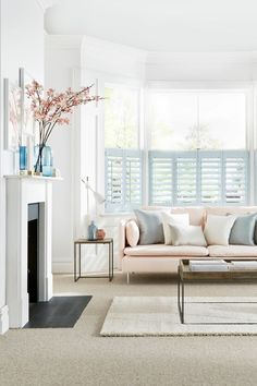 View our exclusive shutters with 10 charming pastel shades & designed in collaboration with House Beautiful. Duck Egg Living Room, Cream Living Rooms, My Living Room, Home And Living, Living Room Decor, Living Spaces, Cream Sofa Living Room Color Schemes, Pastel Living Room, Cafe Style Shutters