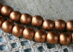 130pcs 6mm Wood Natural Metallic Copper Round Beads 2 16in Strand