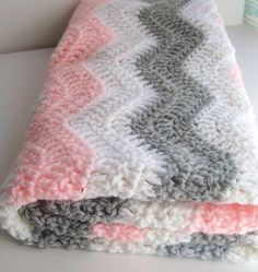 Pink and Gray Chevron Baby Blanket - Crochet Baby Blanket - Chevron Baby Girl Pink Gray Nursery Bedding 30X30 inches. $55.00, via Etsy.