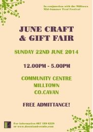 June Craft & Gift Fair in the Milltown Community Centre Event Page, Craft Markets, Event Organization, Summer Crafts, Craft Gifts, Centre, June, Community, Events