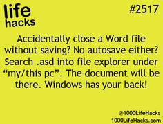 Wonder if this work didn't get a chance to save your word document Windows got your back More