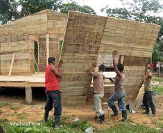 Building a house with bamboo - Construcción de una casa de bajo costo, ecológica y sustentable, con paneles de bambú