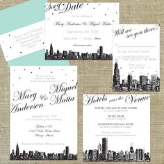 Save The Date Postcards Chicago Set of 100 Wedding Planning