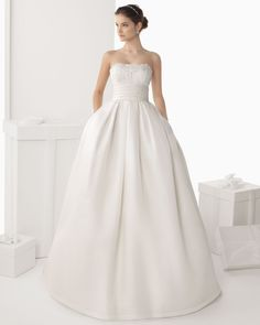 308 CADIZ | Wedding Dresses | 2014 Rosa Clara Collection | Rosa Clara (Shown side Pockets at skirt & Waistband with Flower at back with Cathedral Train & also without Half sleeve Illusion Tulle Jacket)