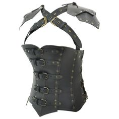 pretty leather armor -- similar to the set I recently made, except my straps go over the shoulders rather than crossing.