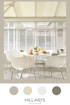 Bone White Faux Wood blinds our range of Wooden and Wood Illusion blinds has an impressive set of practical credentials too for your consevatory. The horizontal slats will help you to control light and privacy levels in your conservatory. They're perfect for overlooked spaces– allowing you to enjoy the dining space and meals with family and freinds, without feeling like you're living in a goldfish bowl. View our wooden blind options for your conservatory. White Faux Wood Blinds, Conservatory Decor, Goldfish Bowl, Illusion, Minimalism, House Design, Range, Spaces, Meals