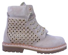 d01ddf6e93 Balmain Tia Suede Grommet Perforated Tundra Ankle 38 Beige Boots. Get the  must-have