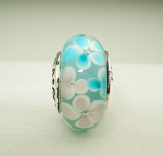 "Authentic Pandora ""Teal Waterlilies"" Murano Glass Bead Charm 780648 