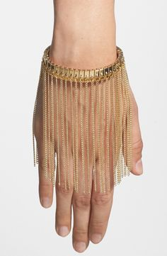 Stunning! Need this gold fringe bracelet.