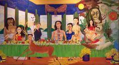 """Greatest Female Artists of the 20th Century 7. Frida Kahlo """"The Last Supper"""" 1940 11/29/16 this is a makeup pin for the second week-figures in art history women artists only I liked this piece because it was a remake of a famous piece with another culture replacing it. The colors are much more vibrant and interesting to look at than the original piece."""