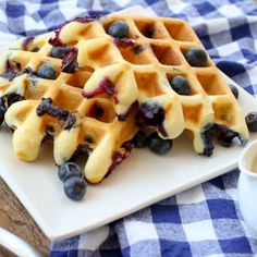 Crisp Fluffy Blueberry Waffles Barefeet In The Kitchen. Blueberry Waffles With Blueberry Sauce Recipe Taste Of Home. Syrup Sensations: Chicken Buttermilk Waffles With . Bacon Waffles, Pancakes And Waffles, National Waffle Day, Mango Smoothie Recipes, Blueberry Waffles, Blueberry Recipes, Waffle Maker Recipes, Waffle Mix, Waffle Iron