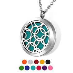 HOUSWEETY Aromatherapy Essential Oil Diffuser Necklace-Stainless Steel Locket Pendant,11 Refill Pads(Non-engraving)
