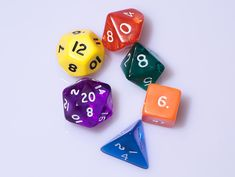D&D uses polyhedral dice to resolve random events. These are abbreviated by a 'd' followed by the number of sides. Shown counter-clockwise from the bottom ...