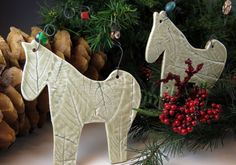 Nature Horse Ornament in Soft Celedon Green  by Botanic2Ceramic