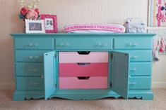 Painted Aqua Dresser/Changing Table with Ombre Pink Interior Drawers - #nursery