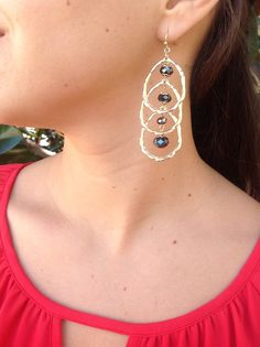 $23 Gold and hematite earrings