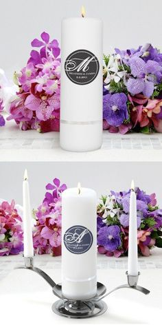 Modern Monogram Personalized Round Unity Candle from Wedding Favors Unlimited