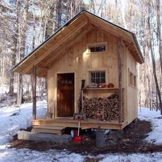 Traumhütte Tiny cabin on blocks Bridesmaid Jewelry and Your closest friends Article Body: The select Small Log Cabin, Tiny Cabins, Little Cabin, Tiny House Cabin, Log Cabin Homes, Cabins And Cottages, Tiny House Living, Tiny House Plans, Tiny House Design