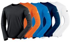 Asics Men's Circuit 7 LS!  Colors: white, orange, red, cardinal, forest, gray, royal, navy, and black.  Customization available.