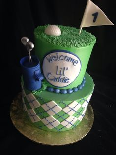 Birthday Cake Baby Shower New Ideas Golf First Birthday, Golf Birthday Cakes, Baby Shower For Men, Golf Baby Showers, Baby Shower Cakes, Baby Shower Themes, Golf Themed Cakes, First Birthdays, Golf Party