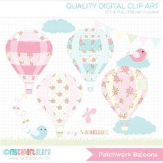 Patchwork Hot Air Balloons Clip Art / Digital by MyClipArtStore, $4.00