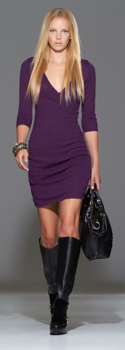 Nikki Allium, Purple Haze 3/4 sleeve dress with boots