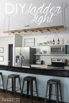 Creating an unique and rustic DIY ladder light could not be any easier. Come check out the few items you would need to put this beauty together.