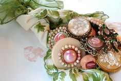 Vintage Button Bouquet; is that made with a vintage hankie? this would be cute framed too.....