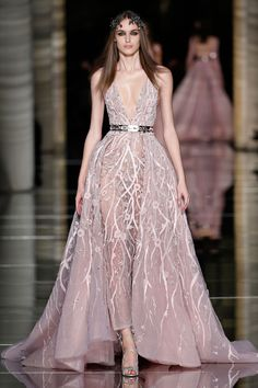 Couture Spring/Summer 2016 Ankle length sheath dress in powder pink tulle, featuring a plunging neckline, embroidered with beaded interlace twigs