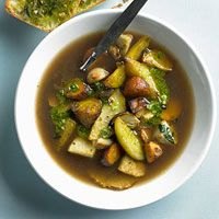 Root Vegetable Soup with Parsley Pesto. Horseradish lends a spicy punch to sweetly caramelized root vegetables, while quick homemade parsley pesto adds a bite of fresh flavor that's equally yummy broiled atop chunky ciabatta bread.