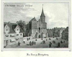 Der Dom zu Königsberg.« Dom mit umliegenden Häusern und Personenstaffage auf dem Domplatz. Lithographie aus Borussia 1839. 15×21 cm.