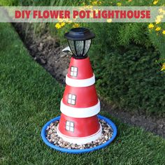 Add nautical style to your garden with this DIY flower pot lighthouse!