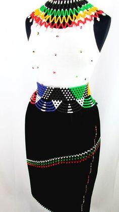 South African Women's Zulu Attire in Black South African Dresses, South African Fashion, African Fashion Designers, Africa Fashion, African Attire, African Wear, African Fashion Dresses, African Women, African Style