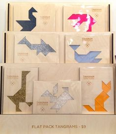 You could make really cool tangram cards for kids