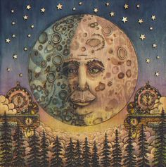 My Man in the Moon Steampunk Clock Stars Fantasy Art Giclee Print by cgbartwork on Etsy