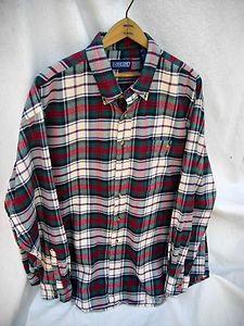 LANDS END Plaid Flannel Top Mens XL Casual Shirt
