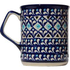 Polish Pottery Mug 8.5 Oz. From Zaklady Ceramiczne Boleslawiec #872-217a Classic Pattern, Capacity: 8.5 Oz. charingskitchen.com