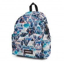 Sac à dos EASTPAK Bleu à motifs et fond cuir Wyoming DIAMOND PLANET 1 compartiment