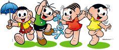 Personagens da Turma da Mônica (Castão, Cebolinha, Mônica e Magali) felizes