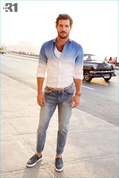 Justice Joslin embraces the dip-dye trend with a must-have shirt, paired with distressed denim jeans.