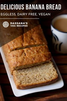 This easy banana bread recipe creates the most moist bread you'll ever eat. Vegan and so easy to make, this healthy recipe is great for dessert or breakfast. #bananabreadrecipe #easy #moist #dassanasvegrecipes Eggless Banana Bread Recipe, Vegan Banana Bread, Easy Banana Bread, Banana Bread Recipes, Egg Free Desserts, Eggless Desserts, Healthy Chocolate Mousse, Pumpkin Bread, Homemade