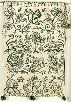Workbag, crewel embroidery 1675 (dated) Origin: Europe, Great Britain, England 27 x 18 inches Twill-woven linen warp-cotton weft in ground; crewel wool embroidery; linen sewing threads; cotton repair threads Acc. No. 2009-12 http://emuseum.history.org/view/objects/asitem/2536/155/title-asc?t:state:flow=cab6c926-5f17-4cbc-94d5-5b3b99200ae0
