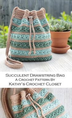 Crochet Drawstring Bag, Crochet Backpack Pattern, Diy Crochet Bag, Drawstring Bag Pattern, Mochila Crochet, Crochet Shrug Pattern, Bag Pattern Free, Crochet Crafts, Cute Crochet