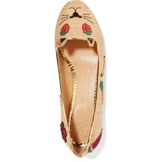 Charlotte Olympia Fruit Kitty embellished raffia ballet flats (€535) ❤ liked on Polyvore featuring shoes, flats, beige shoes, embellished flats, beige ballet flats, ballet pumps and ballet flat shoes