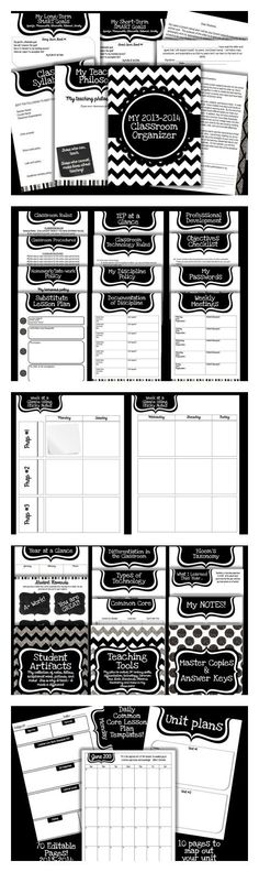 Classroom Decor Ideas: So excited to share this with everyone! This is an EDITABLE classroom organizer specifically for middle and high school teachers! It is a black and white theme for easy printing!